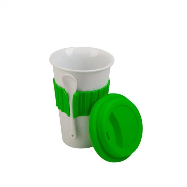 cestovní hrnek s lžičkou - zelený